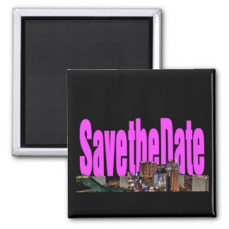 Save the Date Las Vegas Strip Pink Magnet