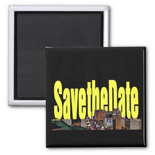 Save the Date Las Vegas Strip Yellow Magnet