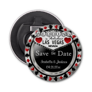 Save the Date Las Vegas Style - Silver & Red Bottle Opener