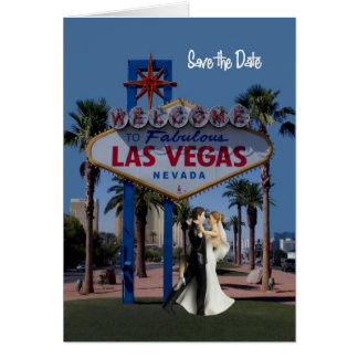 Save the Date Las Vegas Wedding Card with Bride &