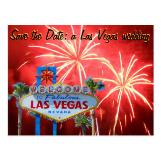 Save the Date Las Vegas Wedding Fireworks Postcard