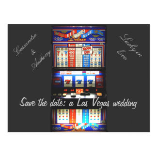 Save the Date Las Vegas Wedding Slot Machine Postcard