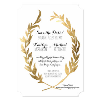 Save the Date Laurel Wreath Olive Leaf Faux Gold Card