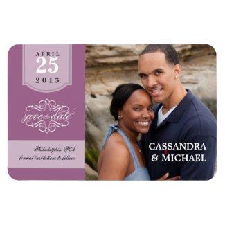 Save the Date - Lavender Custom Photo Magnet