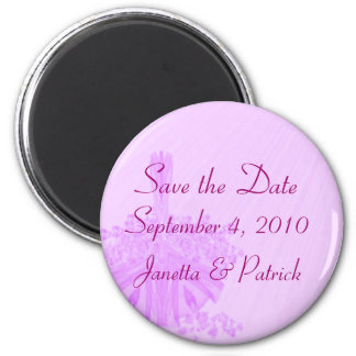 Save the Date - Lavender Flower Basket (a) 2 Inch Round Magnet