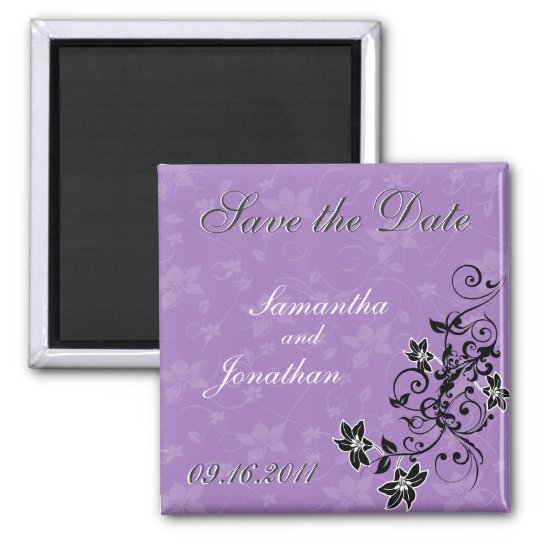 Save the Date Lavender Purple Floral Magnet