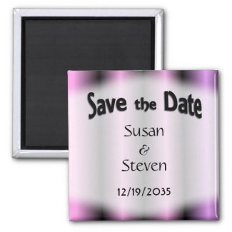 Save the Date Lavender Stripe Wedding 2 Inch Square Magnet