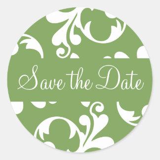 Save the Date Leaf Flourish Envelope Sticker Seal