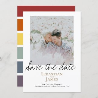 Save The Date LGBTQ Rainbow Personalized Photo