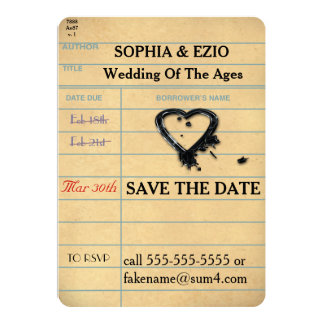 """Save the Date Library Card 5"""" X 7"""" Invitation Card"""