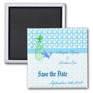 save the date, light blue dots. for weddings. enga magnet