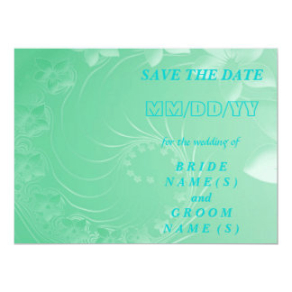Save the Date - Light Green Abstract Flowers Card