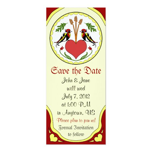 Save the Date, light - Long Happy Relationship Hex 4x9.25 Paper Invitation Card