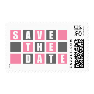 Save The Date (Light Pink / Gray Square Boxes) Postage