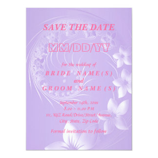 Save the Date - Light Violet Abstract Flowers Card