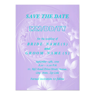 Save the Date - Light Violet Abstract Flowers 6.5x8.75 Paper Invitation Card