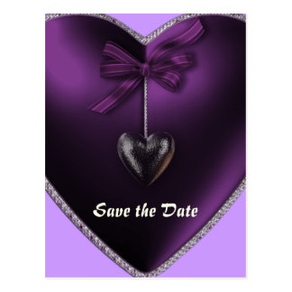 Save the Date Lilac Heart Postcard