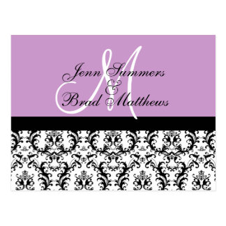 Save the Date Lilac Monogram Damask Card Postcards