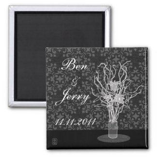 Save The Date Lily Arrangement Square Magnet