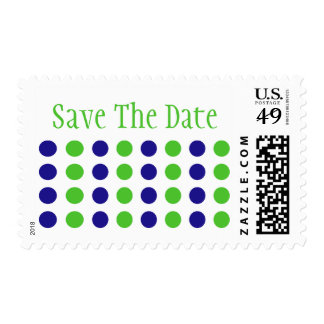 Save The Date (Lime Green / Blue Stamp) Postage Stamp