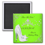 Save The Date Lime High Heels Shoes Tiara 2 Inch Square Magnet