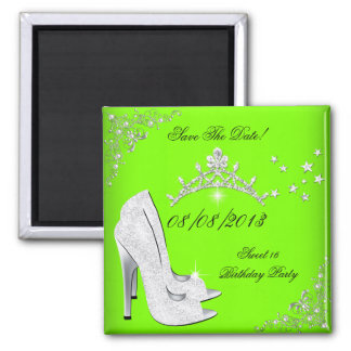 Save The Date Lime High Heels Shoes Tiara Magnet