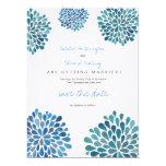 Save the Date Linen Blue Flower Petal Blooms Announcements