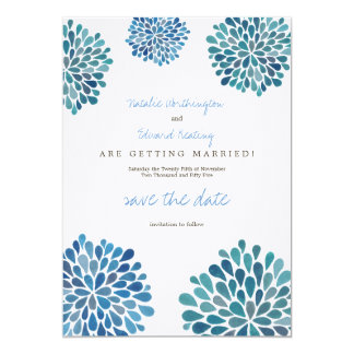 Save the Date Linen Blue Watercolor Dahlias Personalized Invite