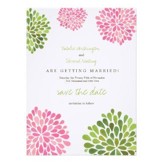 Save the Date Linen Pink & Green Flower Blooms Personalized Invitation