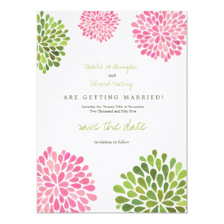 Save the Date Linen Pink & Green Flower Blooms Personalized Invitations