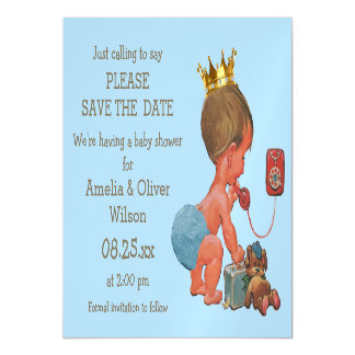 Save The Date Little Prince on Phone Gray Blue Magnetic Card