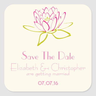 Save The Date Lotus Flower / Water Lily Square Sticker