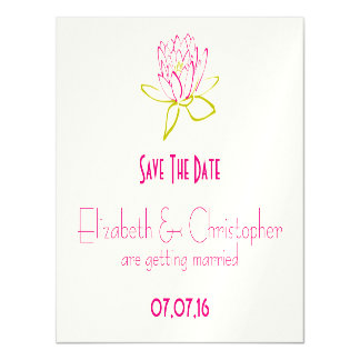 Save The Date Lotus Flower / Water Lily Magnetic Invitations