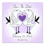 """Save The Date Love Bird Invitation Purple 5.25"""" Square Invitation Card"""