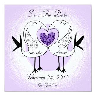 Save The Date Love Bird Invitation Purple