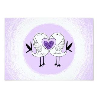 Save The Date Love Bird RSVP cards Purple 1
