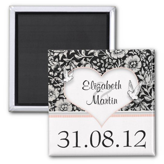 save the date love doves love birds damask magnets