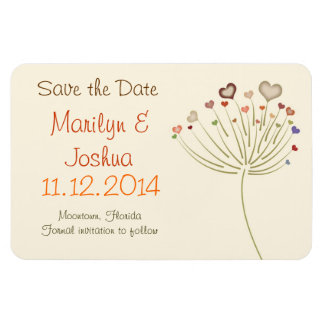 save the date love hearts blossom modern magnet