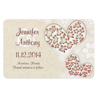 save the date love hearts modern magnets