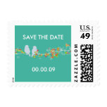 Save the Date lovebirds postage stamps