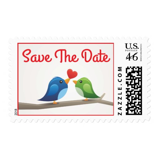 Save the Date! Lovebirds Red Heart Postage Stamps