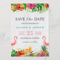 Save The Date   Luau Tropical Floral Flamingo