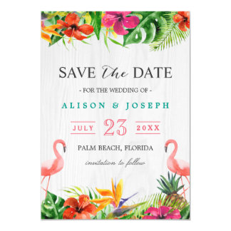 Save The Date | Luau Tropical Floral Flamingo Card