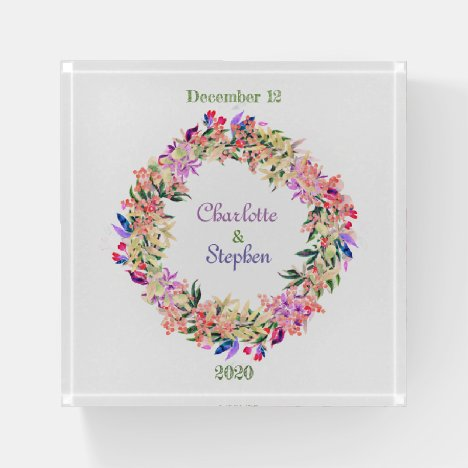Save The Date Lush Floral Wreath Paperweight