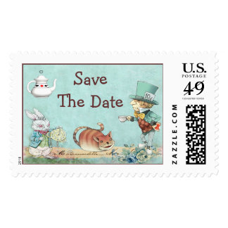 Save The Date Mad Hatter's Wonderland Tea Party Postage