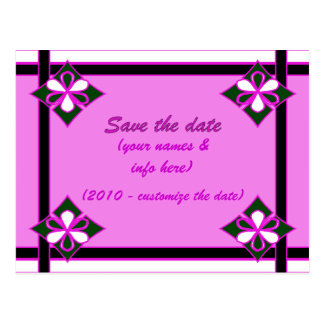SAVE THE DATE (magenta, black) Postcard