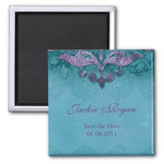 Save the Date Magnet Antique Verdigris Purple Turq