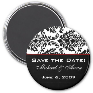 Save The Date Magnet Baroque Black and Red
