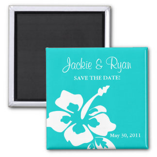 Save the Date Magnet Beach Wedding Hibiscus Blue