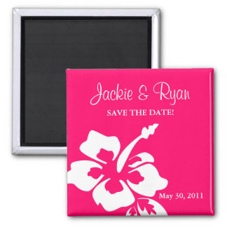 Save the Date Magnet Beach Wedding Hibiscus Pink